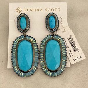 Kendra Scott LUXE Kaki's in Gunmetal and Turquoise